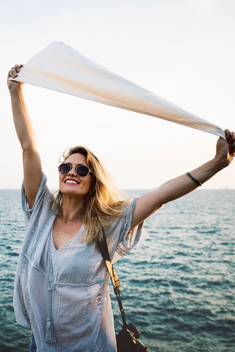 Woman elated with her Content Marketing results